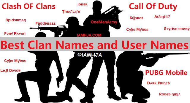 Best UserNames & Names For PUBG, COD, COC & Clan